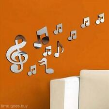 1Set Silver Musical Notes Removable Vinyl Art Mirror Wall Sticker Decal Decor