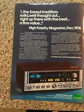 1977 VINTAGE 8X11 PRINT Ad FOR Sansui 7070 Stereo FM Receiver UP THERE WITH BEST