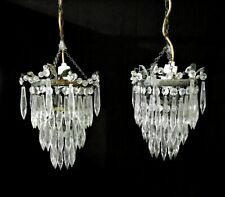 More details for pair small french antique chandeliers 3 tiers, waterfall, glass droplets