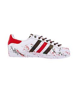 EticaEstetica Custom Sneaker Adidas Superstar Bianca Uomo Macchie e Lacci Cuoio