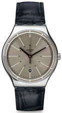 SWATCH IRONY EPPENDORF GRAY DIAL DATE BLACK LEATHER STRAP MEN'S WATCH YWS415 NEW