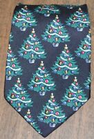 STAFFORD Black Green Christmas with Tree Ornaments Silk Neck Tie Made in USA