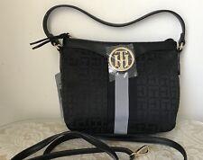NWT Tommy Hilfiger black jacquard faux leather tote purse bag satchel $79