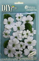 Dogwood x 24 Canvas WHITE 21-33mm with Centre & 6 Leaves Textured DIY Petaloo E