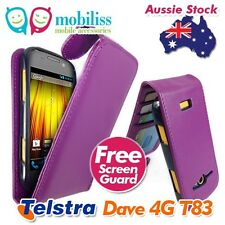 Synthetic Leather Wallet Case Cover for Telstra Dave 4g T83 - Purple X2