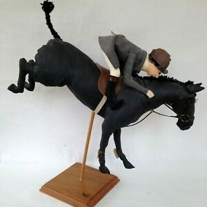 Equestrian Horse and Rider Show Jumper Soft Sculpture Designer Audrey Schulz