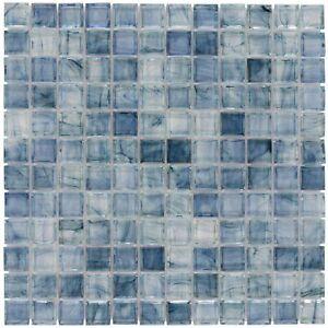 Classic Uniform Square Light Blue Glossy Glass Backsplash Mosaic Tile MTO0085