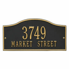 Rolling Hills Rectangular Black/Gold Standard Wall 2-Line Address Plaque, Alumi