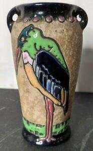 Vintage Art Nouveau Amphora Campina Pottery Vase Colorful Crane Bird Signed
