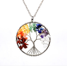1pcs Chakra Tree Of Life Pendant Necklace Copper Crystal Natural Stone Necklace