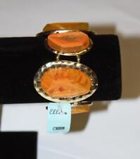 Coral Color Bracelett Gold Tone Bezel Expandable Fashion Costume Jewelry JXE New