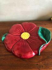 Grand Plat  dessous de plat VALLAURIS, diamètre 31 cm, Motif coquelicots vintage