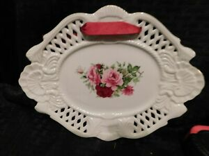 Plate Wall Decor Formalities Baum Bros White PIerced Pink Roses Ribbon Antique