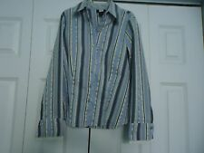 Woman's size Medium Long Sleeve Blue Tan & Gray Stripe Studio 1940 Blouse