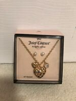 """New Juicy Couture Gold Heart 20"""" Pendant Chain Necklace & Pearl Earrings Set"""
