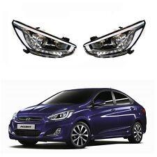 LED Head Light Lamp LH+RH Genuine For Hyundai Accent Verna Solaris 2013 2015