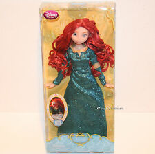 "NEW 2013 12"" Disney Store Princess Merida Brave Classic doll in Green Dress Gown"