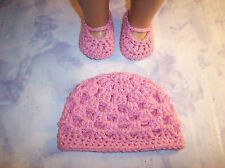 Pink Sparkle Crochet Beanie Hat And Mary Jane Shoes For The American Girl Doll
