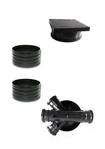 320mm Manhole Inspection Chamber Square Cover/Lid 2x Riser Base Set