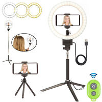 """9"""" LED Ring Light Phone Stand Tripod Kit Dimmable Lamp Makeup Live Selfie Camera"""