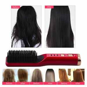Comb Hair Brush Cordless USB Rechargeable Fast Heating Hair Straightening Brush