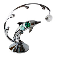 Crystocraft Dolphin Crystal Ornament With Swarovski Elements Gift Boxed Green