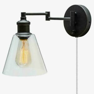 Globe LeClair WALL SCONCE Dark Bronze Clear Glass Mounted Plug-In/Hardwire 65311