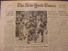 VINTAGE SPORTS NEWSPAPER HEADLINE ~USA HOCKEY TEAM OLYMPIC US WINS GOLD MEDAL~