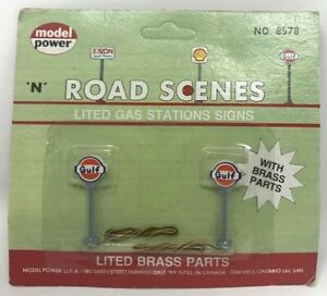 Model Power # 8578  Lighted Gas Station Signs pkg(2) GULF  N Scale  MIB