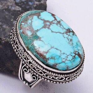 Turquoise Ethnic Handmade Antique Design Ring Jewelry US Size-8 AR 40121