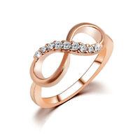 Fashion Women Infinity Shape Bowknot Crystal Rhinestone Finger Ring 4 Size HOT