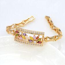 NEW Women 18K Gold Plated AAA+ CZ Charm Bangle Bracelet Wristband Jewelry