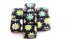Flat Square Multi Coloured Star Glass Bead Pack of 7, 8mm each