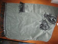 Uilleann bag cover Sea Foam green corduroy black chainette fringe