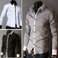 Mens Dress Shirts Long Sleeves Luxury Casual Slim Fit Business Mulitcolor YC01