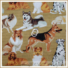 BonEful Fabric FQ Cotton Quilt Brown Dog Breed Poodle Pug Lab Collie Husky Word