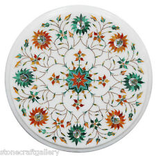 """12"""" Marble Side Table Unique Vintage Pietra Dura Hand Inlay Art Home Decor T19"""