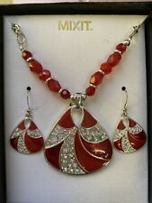 Mixit Boxed Red And Silver Jewelry Set