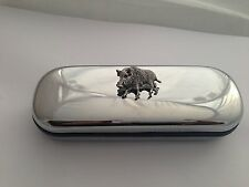 A65 Wild Boar Motif On a Chrome Glasses Case