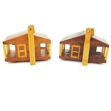 2 Handmade by P.R. Brown Primitive Wood Log Cabin Houses Country Chic Cottage