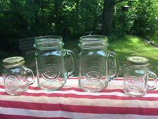 Vtg Golden Harvest Glass Jar Drinking Mugs Handled 16 Oz Mini Shot Salt Pepper!