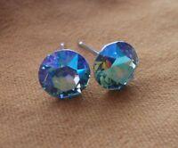 HYPOALLERGENIC Stud Earrings Swarovski Elements Crystal AQUA Aurora Borealis