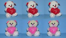 "6x Valentine 7"" Stuffed Animal Plush Teddy Bear I Love You Heart - Wholesale"