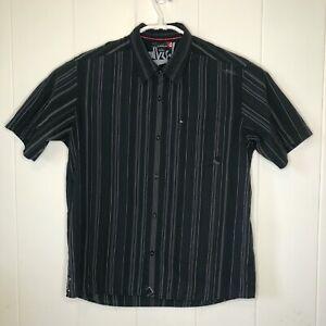 Quiksilver Sz Large Mens Button up Short Sleeve Black Pinstripe Collar Shirt A45