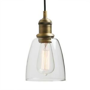 Antique Vintage Industrial Pendant Lamp Clear Glass Shade Kitchen Ceiling Light