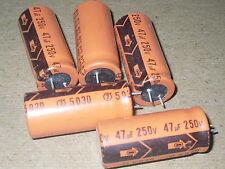 Radio/Electronics/Amplifier.  5 - Capacitors.  47 MFD.  250 V.  NOS.