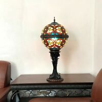 """Tiffany Style 27"""" Globe Shape Amber &Green Stained Glass Table Lamp 11"""" Shade"""