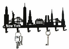 New York Skyline - USA Key Hook Wall Key Holder - Hooks Design Steel black