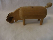 Nice Vintage German Wood Pig #R