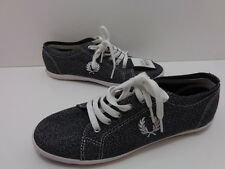 Women's Fred Perry Kingston Twist Chambray Fashion Sneakers-Grey  Size 8 M